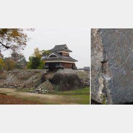 熊本城の戌亥櫓(左)と崩落で見つかった観音様(C)日刊ゲンダイ