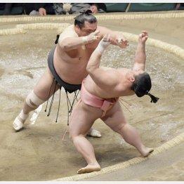 豊響(左)の攻めを土俵際でこらえる宇良(C)共同通信社