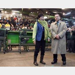 移転延期後に初めて築地市場を訪れた小池知事(C)日刊ゲンダイ
