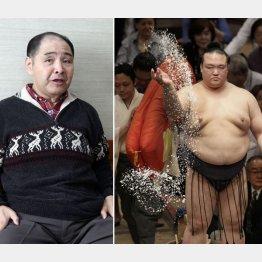 尾車親方(左)と稀勢の里(C)日刊ゲンダイ