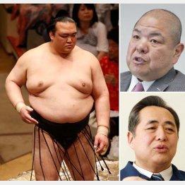 (左から時計回りで)稀勢の里、八角理事長、芝田山理事(C)日刊ゲンダイ
