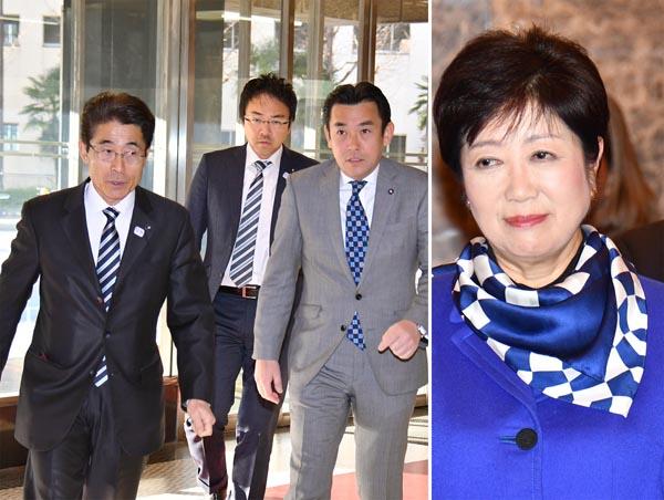 「新風自民党」を結成した大場康宣、木村基成、山内晃の3都議(左から)/(C)日刊ゲンダイ