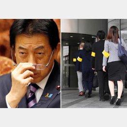 塩崎厚労相(左)と電通の家宅捜査(C)共同通信社