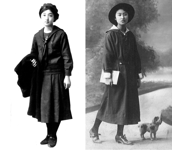 旧福岡女学校の制服(左)と平安女学院の制服(提供写真)