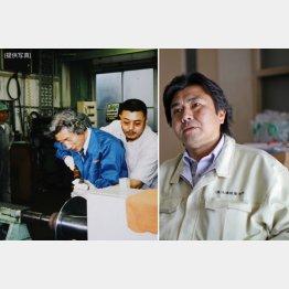 左写真=角刈りヘアで「ヘラ絞り」の技術を小泉首相(当時)に指導する北嶋社長/(C)日刊ゲンダイ
