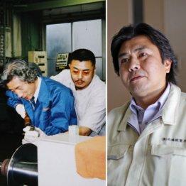 左写真=角刈りヘアで「ヘラ絞り」の技術を小泉首相(当時)に指導する北嶋社長