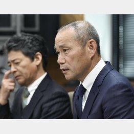 「指導に不適切、不備があった」と言う上田校長(C)共同通信社
