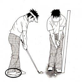 アプローチは左足体重で スクエアスタンスから右足を引く