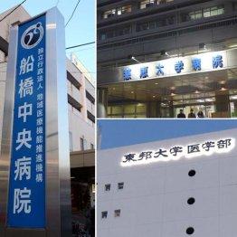 (左から時計回りに)3容疑者がそれぞれ所属する船橋中央病院、東京慈恵会医科大付属病院、東邦大学医学部