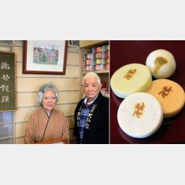 左の額は山口瞳が書いた「織部饅頭」を白抜きにした染め物(写真・左)