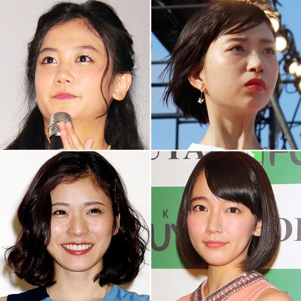 左上から時計回りに清水富美加、森川葵、吉岡里帆、松岡茉優(C)日刊ゲンダイ