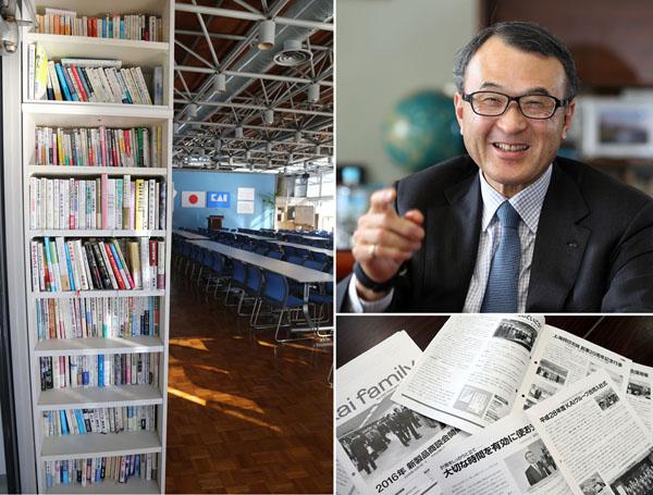 社内にある「推薦本」本棚(左)・十数年以上、社内報に推薦本を紹介(C)日刊ゲンダイ