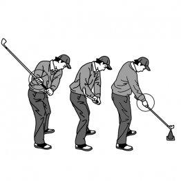 ダウン後半 シャフトを前に振れ出すことでヘッドはプレーンに動く