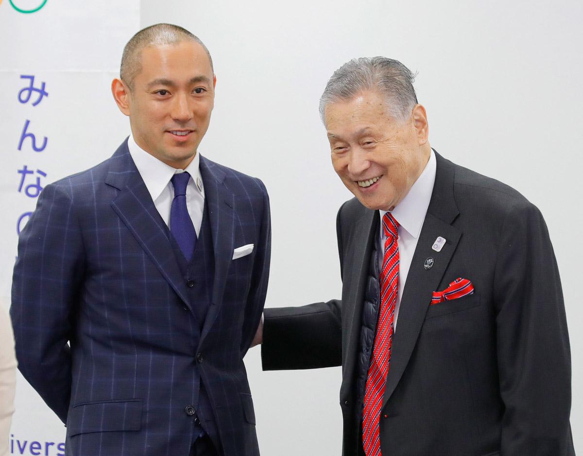 同じ話ばかり…(右から森喜朗会長、市川海老蔵)/(C)日刊ゲンダイ
