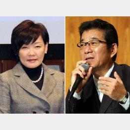 名誉校長を辞任した昭恵夫人と「不認可」に言及した松井大阪府知事(C)日刊ゲンダイ