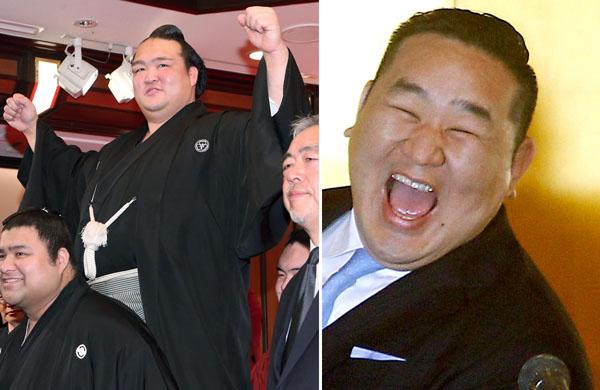 横綱として3月場所に挑む稀勢の里(左)と朝青龍(C)日刊ゲンダイ