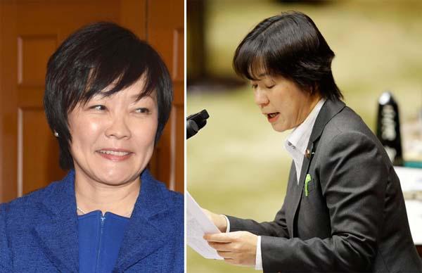 昭恵首相夫人(左)と参院予算委で質問する舟山氏(C)日刊ゲンダイ