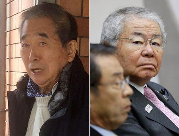 石原慎太郎元都知事(左)と引退表明した内田都議(C)日刊ゲンダイ