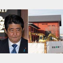 安倍首相と森友学園(C)日刊ゲンダイ