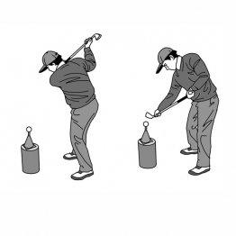ダウン後半は左手と右手の運動方向が異なるとヘッドはプレーンに動く