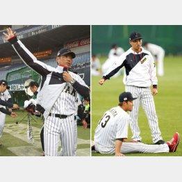京セラドームで調整する小久保監督と青木、中田(C)日刊ゲンダイ