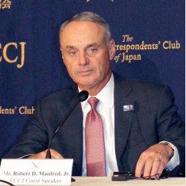 日本外国特派員協会で会見したロブ・マンフレッドMLBコミッショナー(C)日刊ゲンダイ