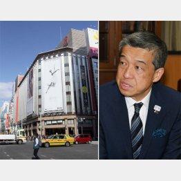 三越銀座店と大西洋社長(C)日刊ゲンダイ