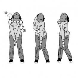 テークバックは肩を回すより前後道を意識する