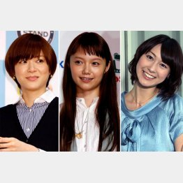 左から上野樹里、宮崎あおい、小川彩佳アナ(C)日刊ゲンダイ
