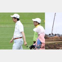 """加計理事長(右)とは""""ゴルフ友達""""、問題の土地には重機がすでに…/(C)日刊ゲンダイ"""