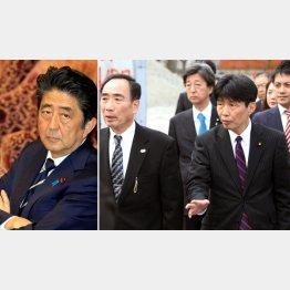 安倍首相(左)と議員視察団に説明する籠池理事長(C)日刊ゲンダイ