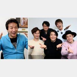前川清(左)と純烈の5人(C)日刊ゲンダイ