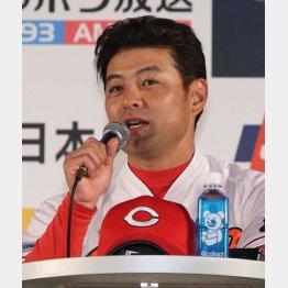ファンミーティングに出席した広島・緒方監督(C)日刊ゲンダイ