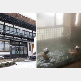 岩瀬湯本温泉の「源泉亭湯口屋」、風呂は源泉かけ流し