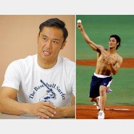 「人と違ったことをやりたい」と語る、右写真=格闘家として始球式に登場(C)日刊ゲンダイ