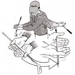 スイング中は左肘と右肘の間隔を変えない