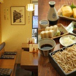 「そば処 銀座 よし田」のもりそば、玉子焼き、板わさ、にしん棒煮、日本酒