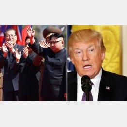 """""""重大イベント""""で姿を見せた金正恩(左)、トランプ大統領もさらに威嚇(C)ロイター"""