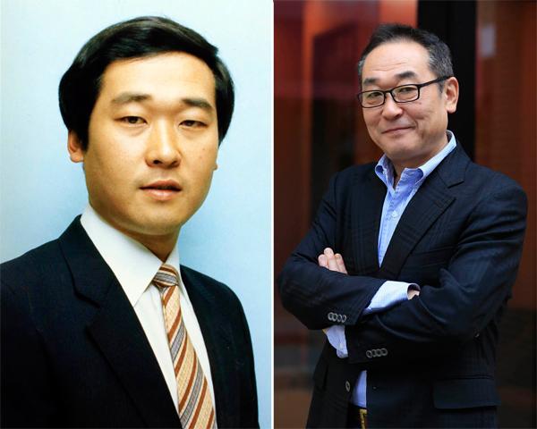 若かりし30代(左)と現在の山中秀樹アナ/(C)日刊ゲンダイ