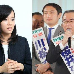 左写真=経歴ピカピカの成清候補、都連決起集会で並ぶ川松候補(左)と桜井候補