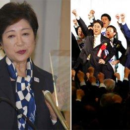 自民党東京政経フォーラムでの安倍首相と都議選候補者たち(左は小池都知事)