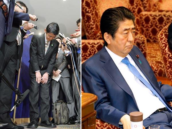 今村大臣(左)は辞任したものの…(C)日刊ゲンダイ