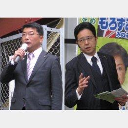 自民を徹底批判した両角穣氏(右)、どこか自信なさげな伊藤祥広氏(左)(C)日刊ゲンダイ