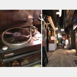 昭和レトロ風たっぷり(左=懐かしいLP盤、コーナーポケットで)/(C)日刊ゲンダイ