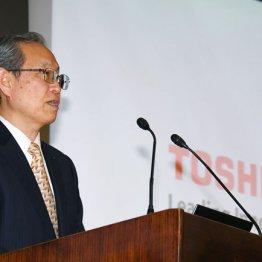 綱川社長は15日の会見で法的整理を完全否定