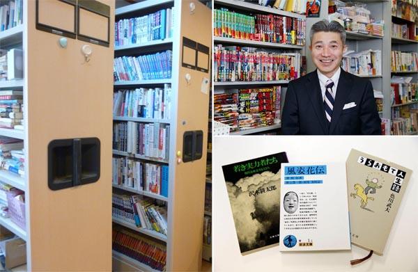 可動式本棚と竹内一郎さんの愛読書(C)日刊ゲンダイ