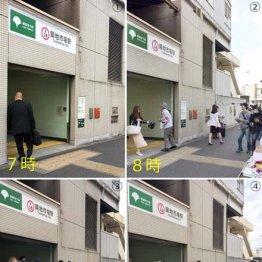 各時間の築地市場駅A1出口の様子