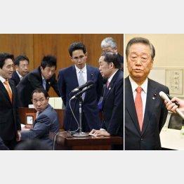 法務委員会の共謀罪可決に抗議で詰め寄る野党(左)と会見する小沢一郎氏(C)日刊ゲンダイ