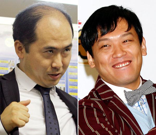 対照的なトレエン斎藤(左)とCOWCOW善し(C)日刊ゲンダイ