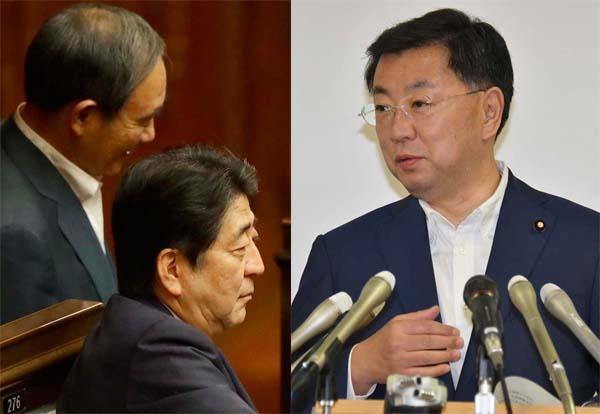 左から菅官房長官、安倍首相、松野文科相(C)日刊ゲンダイ